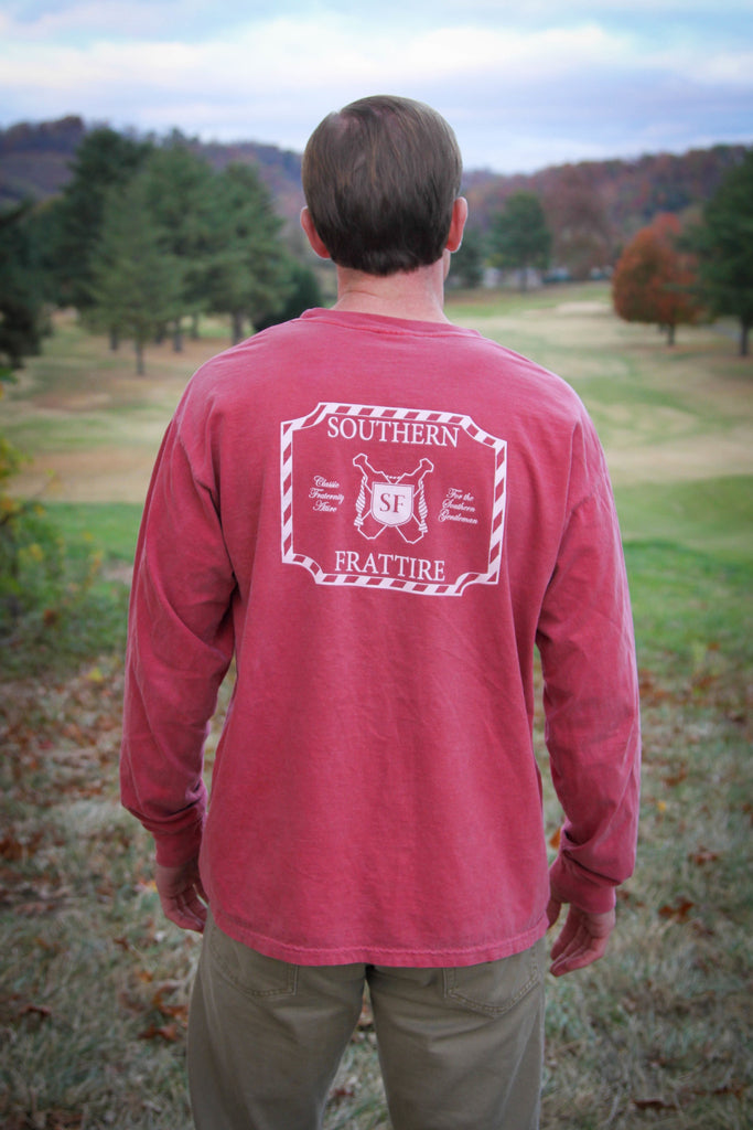 Outline Logo Pocket Tee - Long Sleeve - Crimson