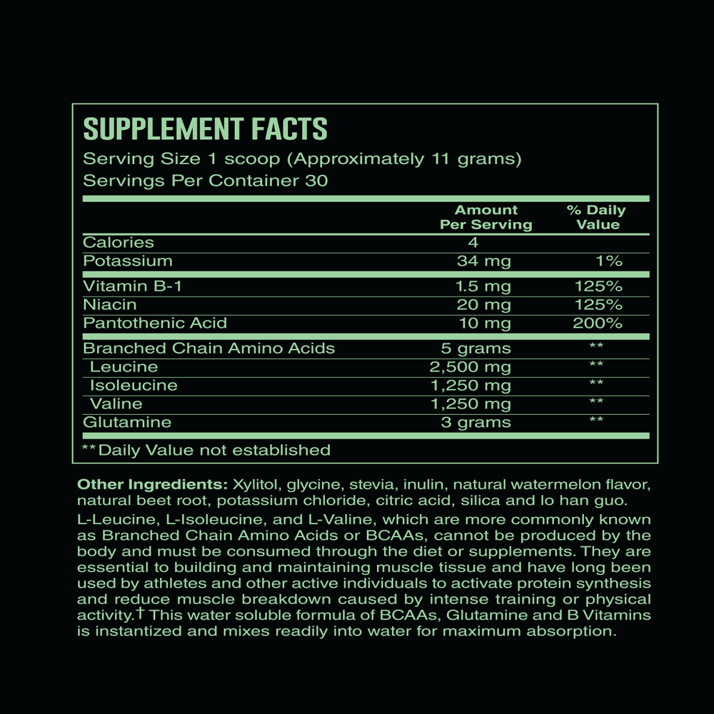 BCAA - Recovery Energy Product - Supplement Facts