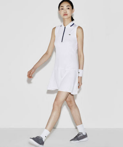 a8f681cfd3 Lacoste Women's Sport Tennis Technical Piqué & Mesh Flared Dress - White