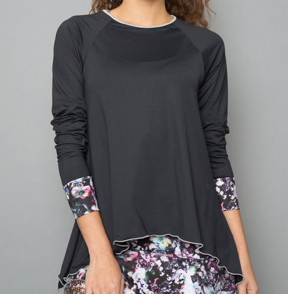 Denise Cronwall Vivid Dark Long-Sleeve Top