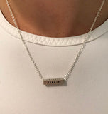 Sterling Silver Bar Tennis Necklace