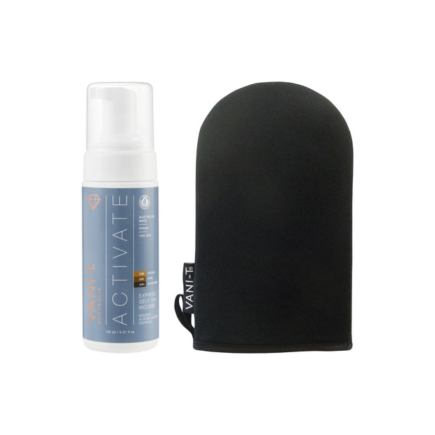 Activate Express Self Tan Mousse + Bronzing Mitt - Self Tan Applicator - SAVE 15%
