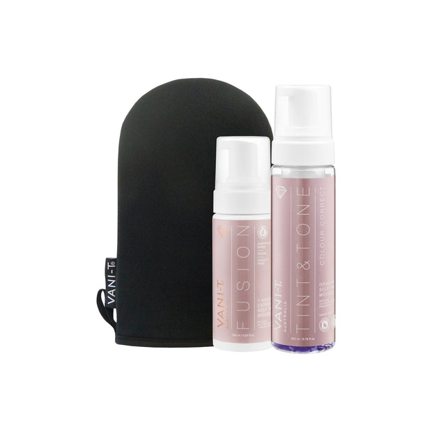 Tint & Tone Gradual Self Tan Mousse + Express Self Tan Mousse 150ML + Bronzing Mitt (SAVE 20%)