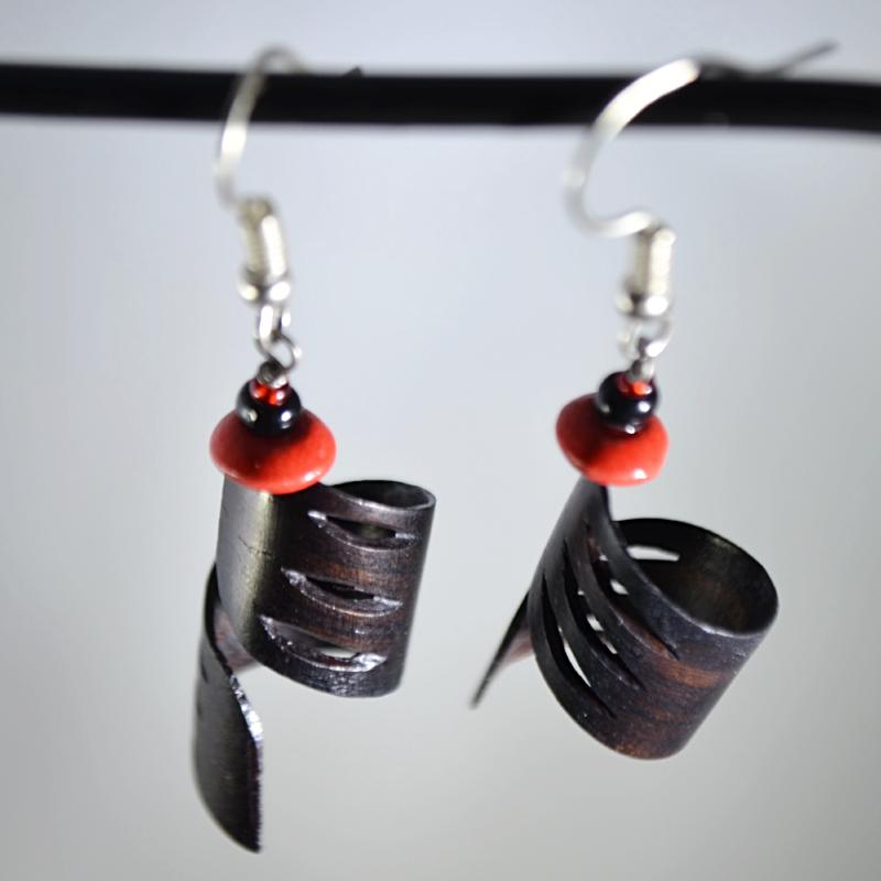Unique spiral shaped wood earrings