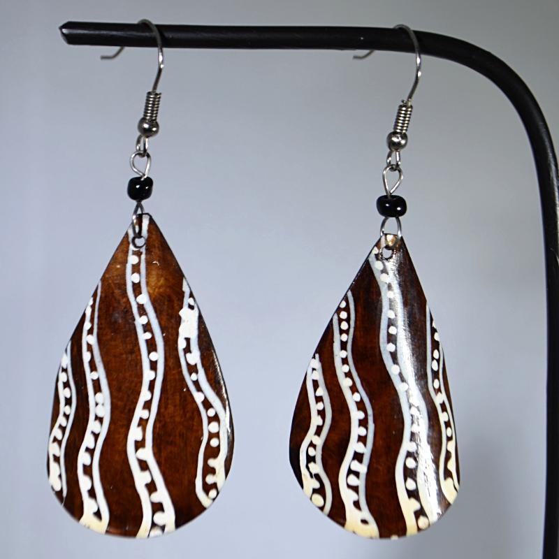 African wood earrings with unique lines