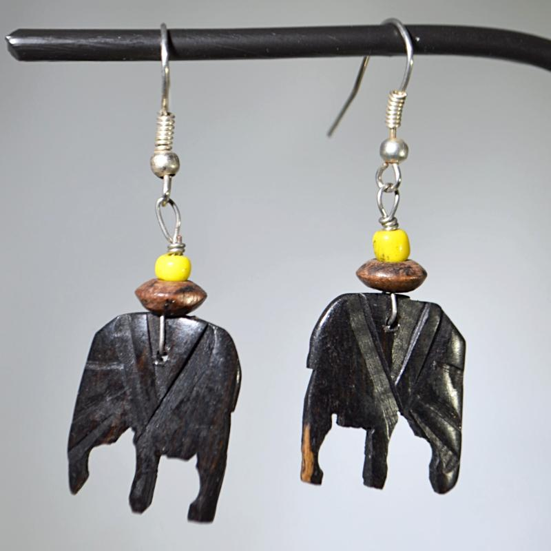 Elephant shaped wooden earrings