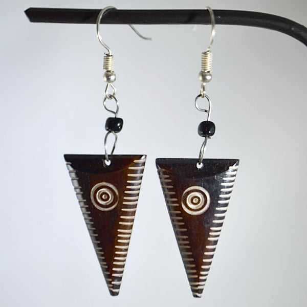 Upside down triangle-shape wooden earrings