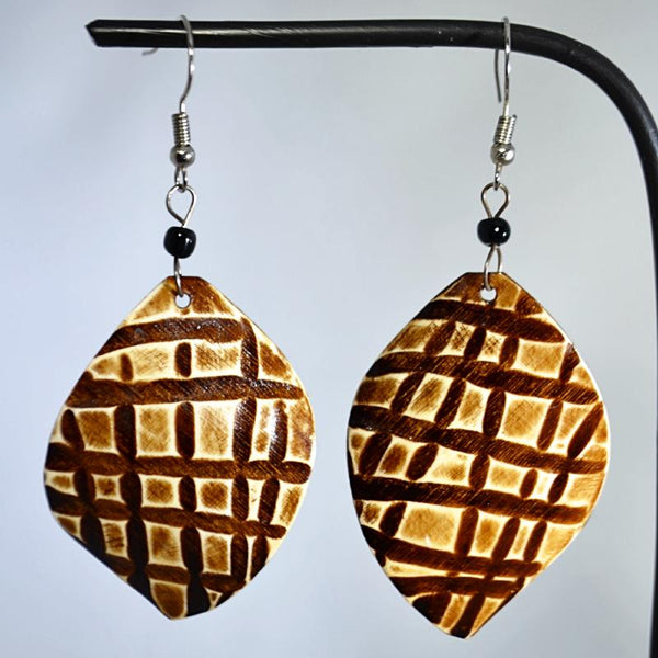 Unique caramel-color wood earrings