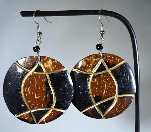 Unique patterned round shaped wood earrings