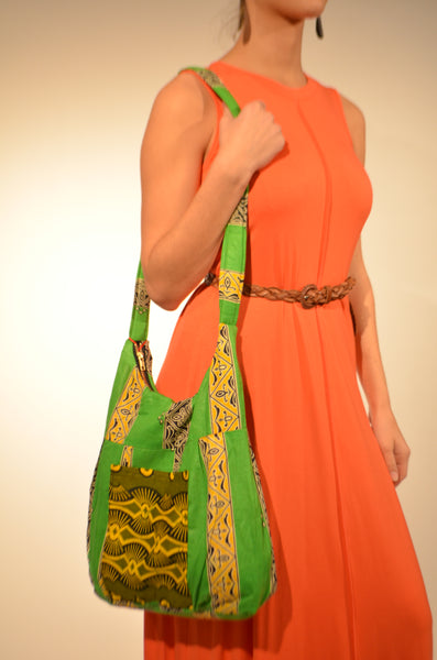 Lime Green Multiple Patterns - Malawi Bag