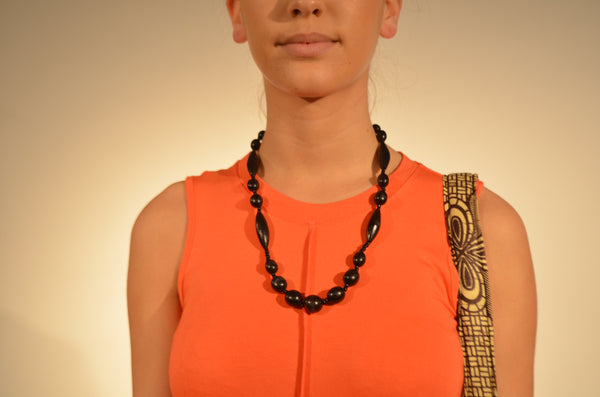 Mahogany Wood Necklace - Oblong