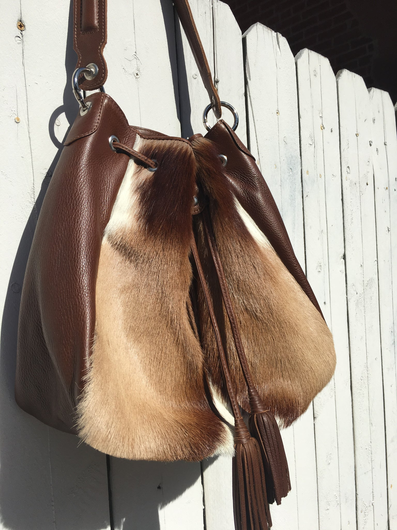 Springbok Antelope Traveler Bag light brown African bag furry bold vegan leather fur quality handmade handbags tote