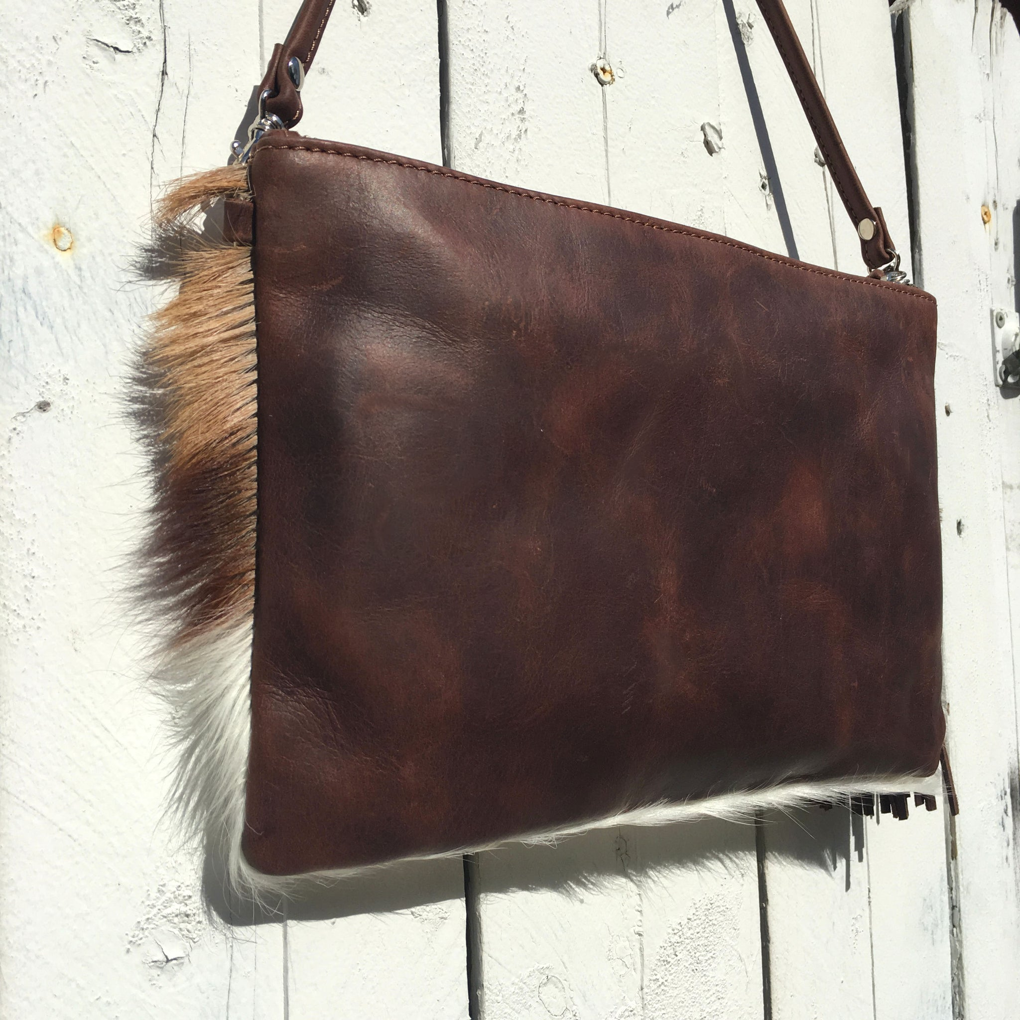 Three-Tone Clutch Springbok Antelope small African bag african handmade quality vegan leather fur
