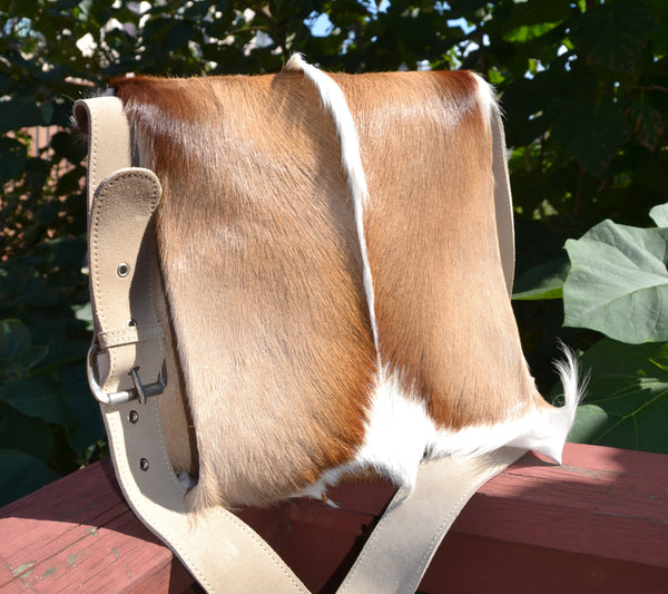 large springbok antelope messenger african bag fur vegan south africa quality