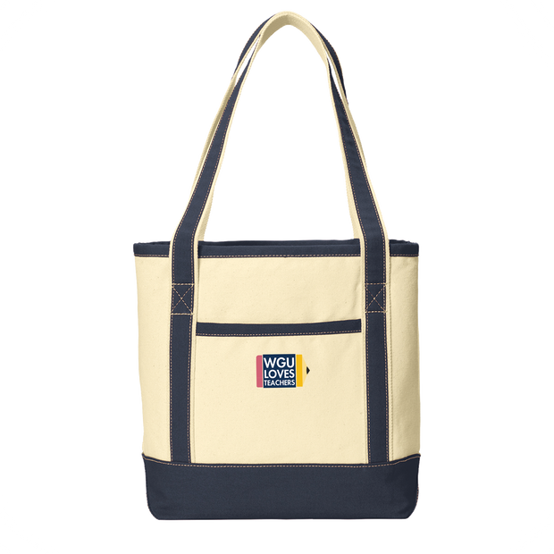 Teachers- Port Authority® Medium Cotton Canvas Boat Tote