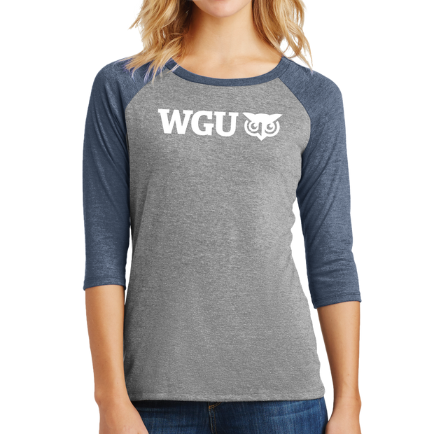 District Made® Ladies Perfect Tri® 3/4-Sleeve Raglan- WGU Commencement