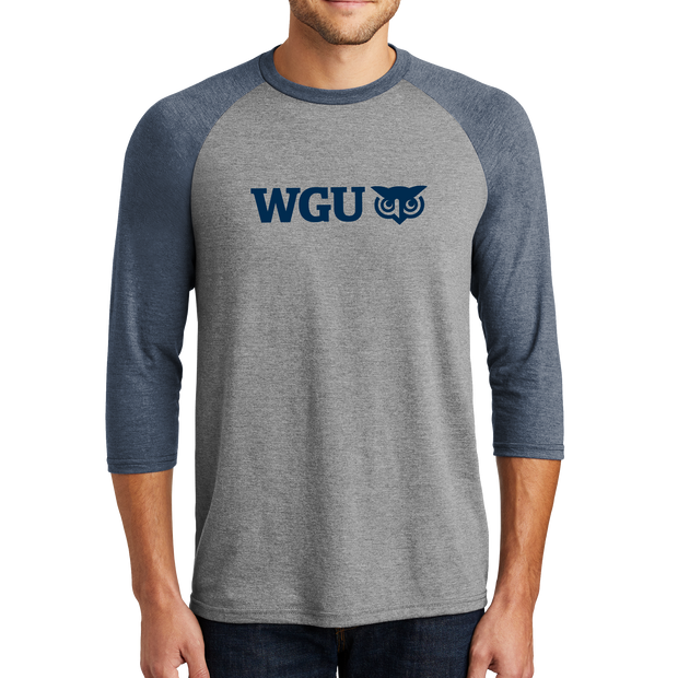 District Made® Mens Perfect Tri® 3/4-Sleeve Raglan - College Color Day