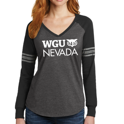 District Made® Ladies Game Long Sleeve V-Neck Tee - Nevada
