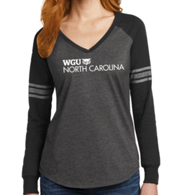 District Made® Ladies Game Long Sleeve V-Neck Tee - North Carolina