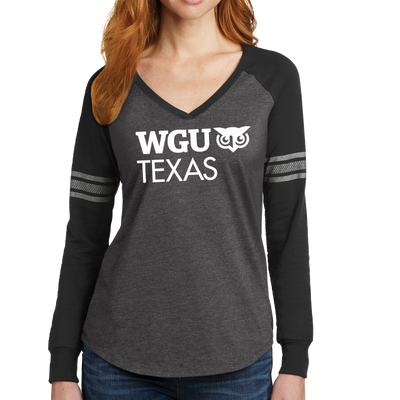 District Made® Ladies Game Long Sleeve V-Neck Tee - Texas