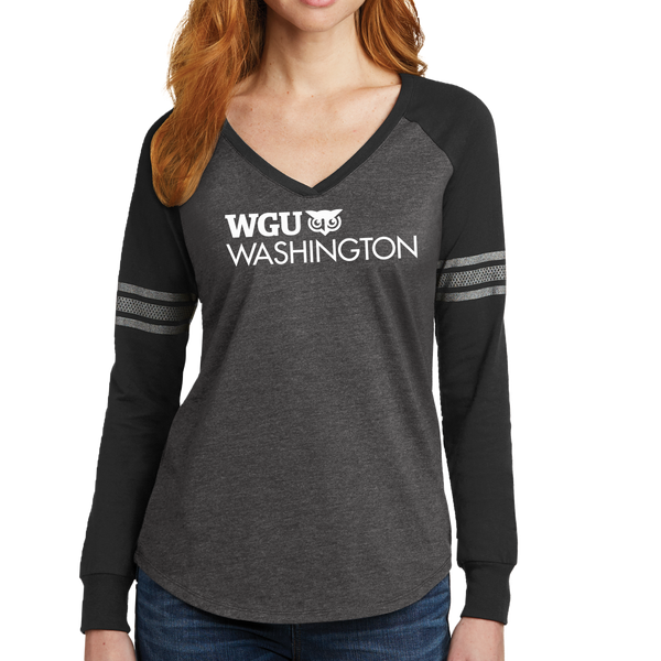 District Made® Ladies Game Long Sleeve V-Neck Tee - Washington