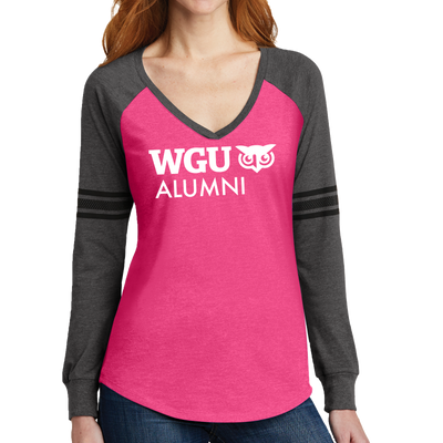 District Made® Ladies Game Long Sleeve V-Neck Tee - Alumni - WGU Clearance
