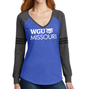 District Made® Ladies Game Long Sleeve V-Neck Tee - Missouri
