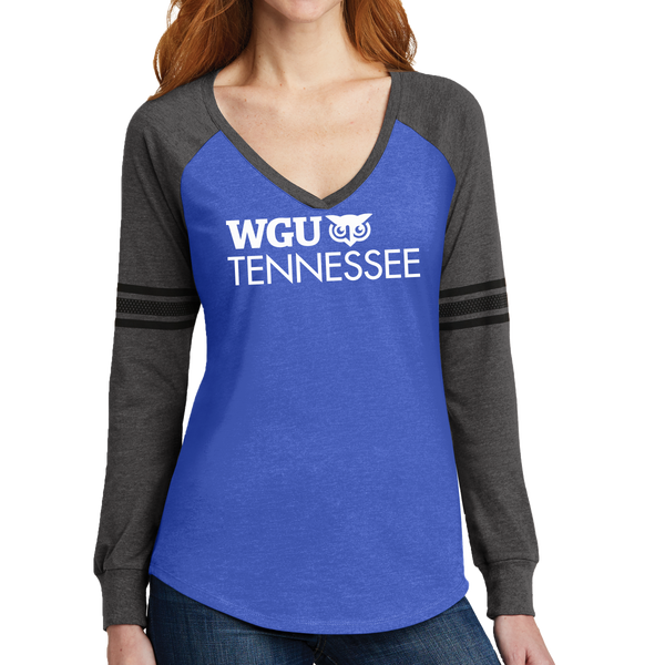 District Made® Ladies Game Long Sleeve V-Neck Tee - Tennessee