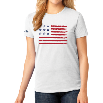 Port & Company Ladies Core Cotton Tee - Stars and Stripes - WGU Clearance