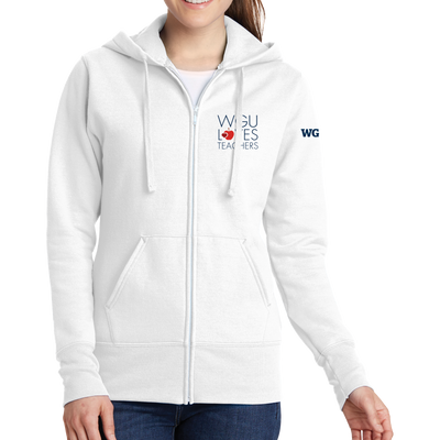 Port & Company Ladies Core Fleece Full-Zip Hooded Sweatshirt - WGU Loves Teachers