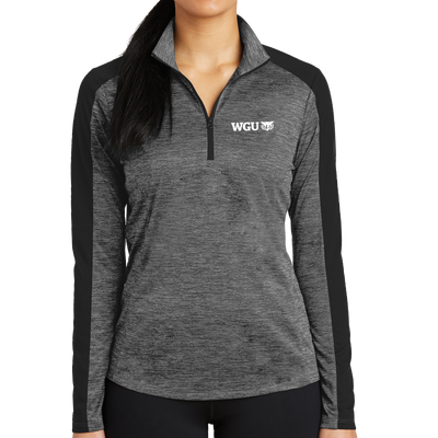 Sport-Tek® Ladies PosiCharge® Electric Heather Colorblock 1/4-Zip Pullover - WGU Clearance