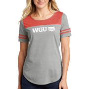 Sport-Tek Ladies PosiCharge Tri-Blend Wicking Fan Tee