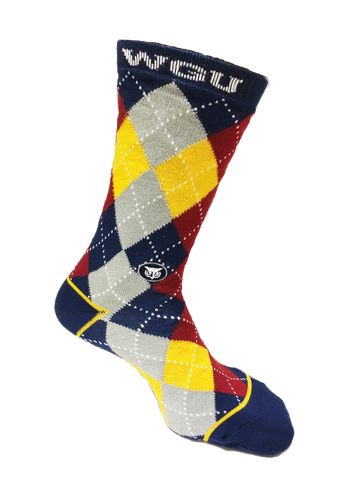WGU Red and Yellow Argyle Sock
