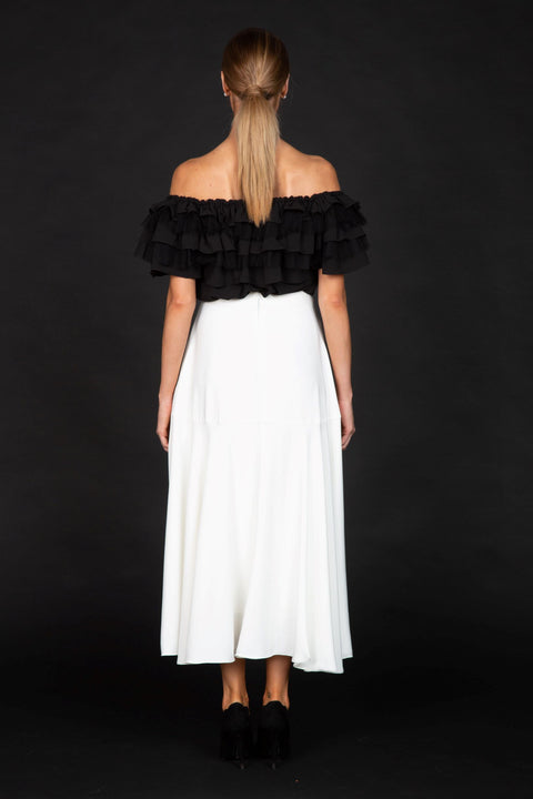 LIZ- Off Shoulder Ruffle Peasant Blouse Top