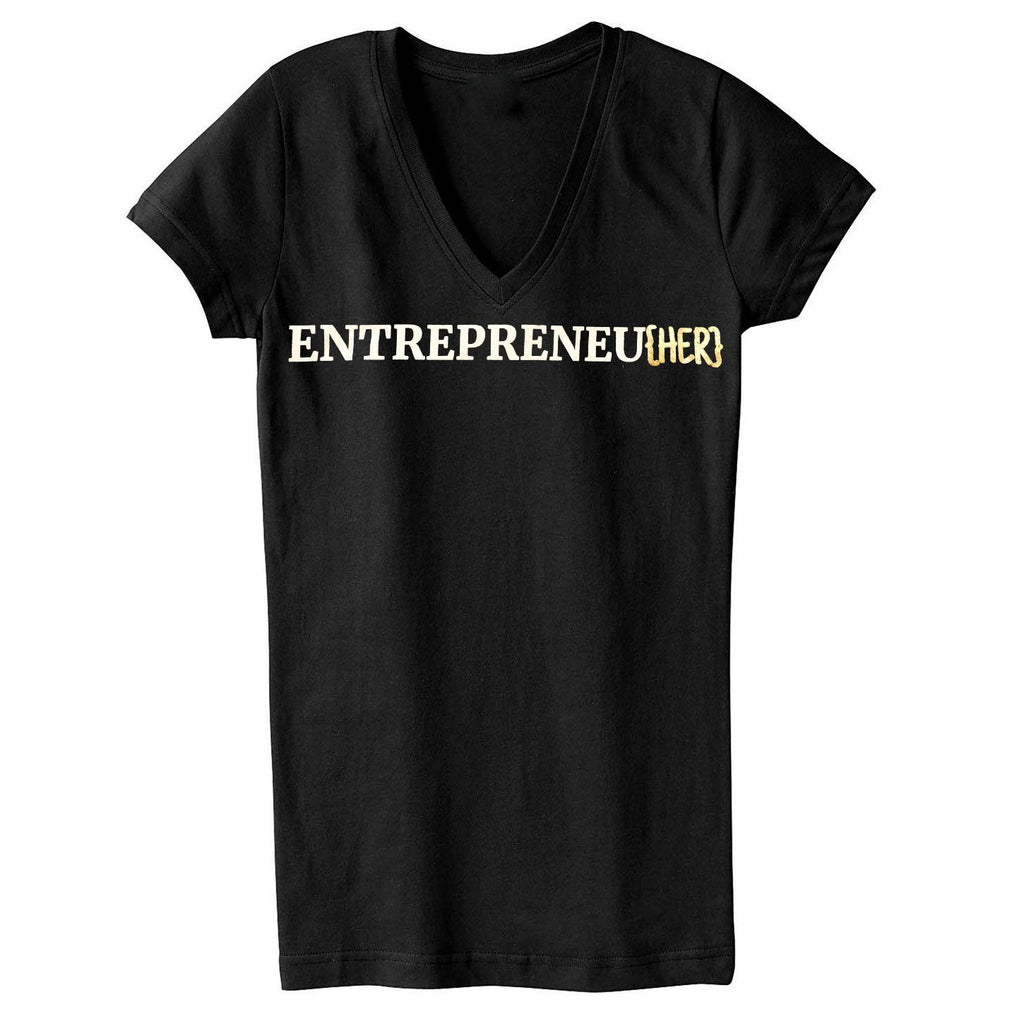ENTREPRENEU{HER} V Neck Gold
