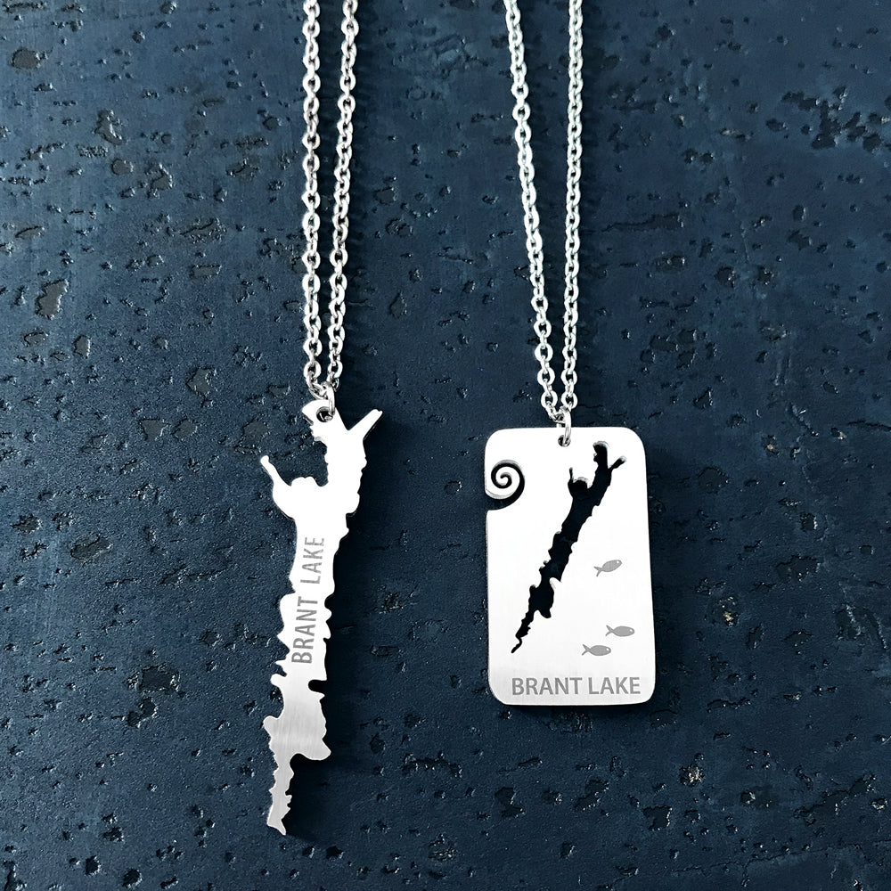 Brant Lake Stainless Steel Necklace. Brant Lake, a hidden gem in Horicon, New York.