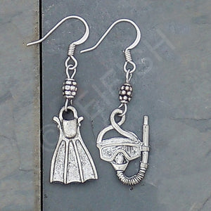 Pewter Mask and Fin Earrings, Snorkeling Earrings