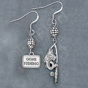 Pewter Gone Fishing Earrings