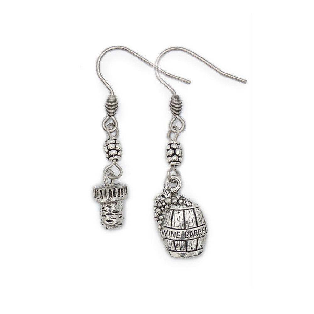 Wine Cork and Barrel Pewter Earrings