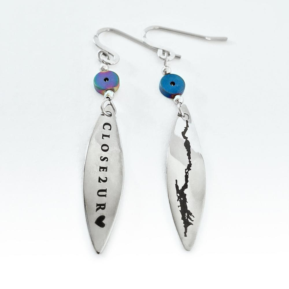Lake George Earrings, Lake George jewelry, Close 2 UR Heart