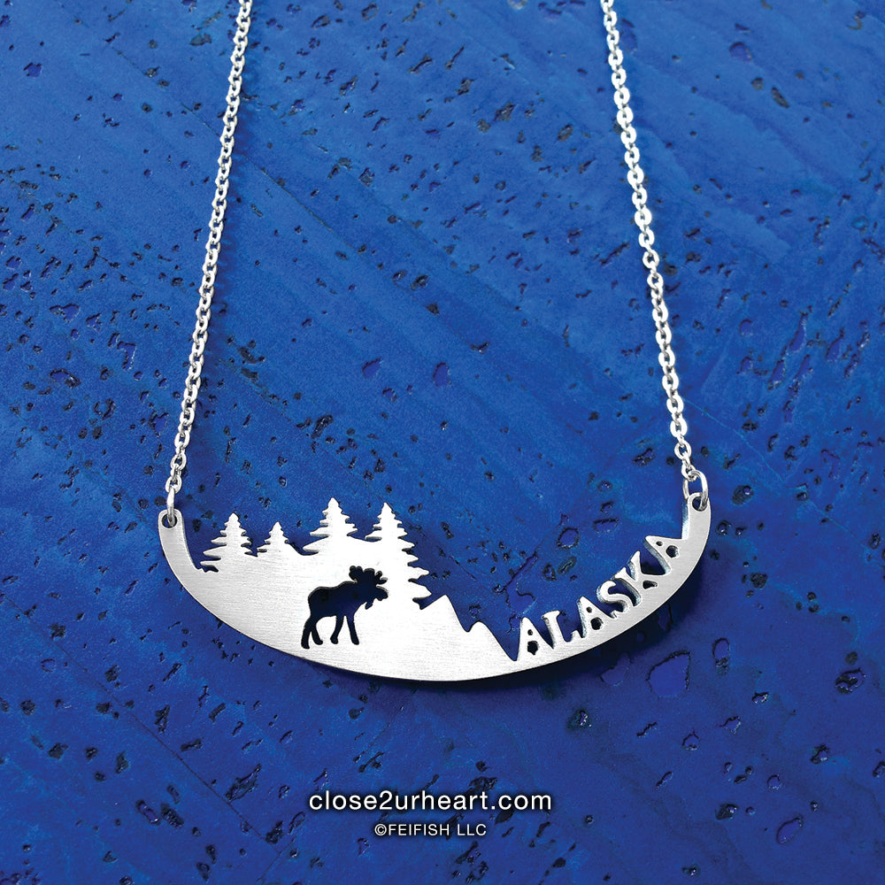 Close 2 UR Heart Alaska Moose Necklace