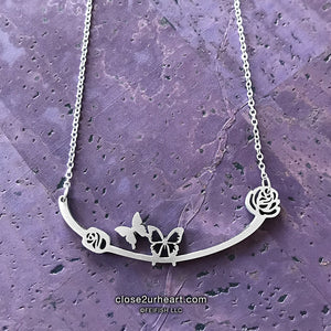 Close 2 UR Heart Butterflies Necklace