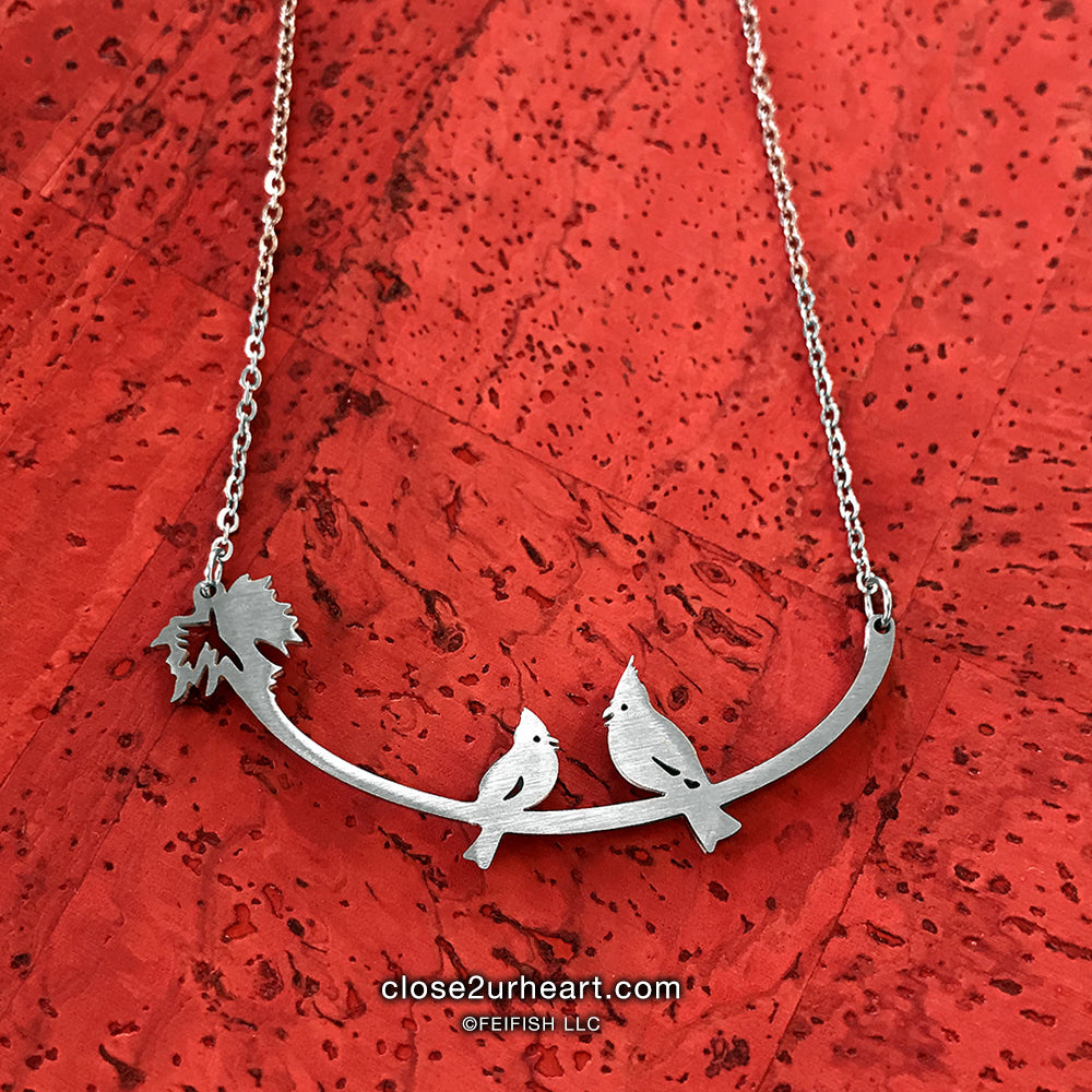 Close 2 UR Heart Cardinals Necklace