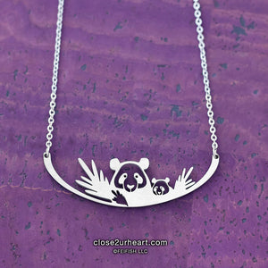 Close 2 UR Heart Giant Panda Bears Necklace