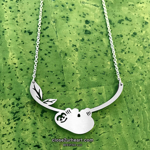 Close 2 UR Heart Sloth Necklace