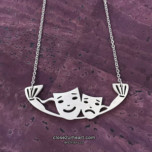 Comedy Tragedy Masks Necklace