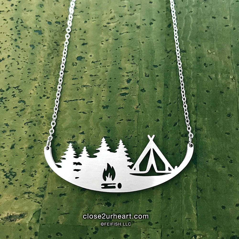 Close 2 UR Heart Tent Camping Necklace
