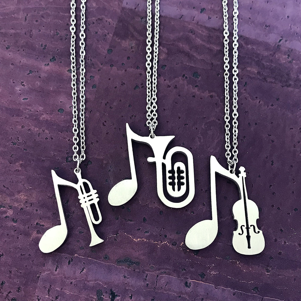 Trumpet, Tuba or Violin Necklace by Close 2 UR Heart