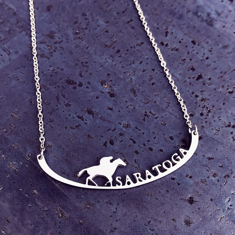 Saratoga Stainless Steel Necklace, celebrating legendary horse racing in Saratoga Springs, New York.