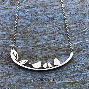 Family of 4 Birds Necklace